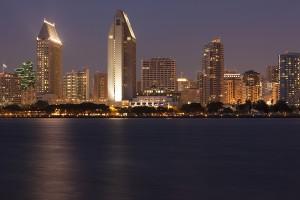 San Diego Skyline Across Bay, Sunset