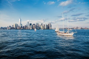 Sailboat on the Hudson River with NYC skyline